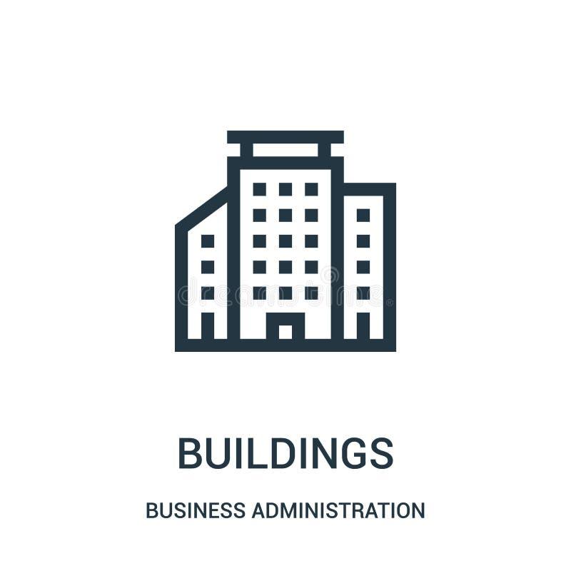 vector del icono de los edificios de la colección de la administración de empresas L?nea fina ejemplo del vector del icono del es libre illustration