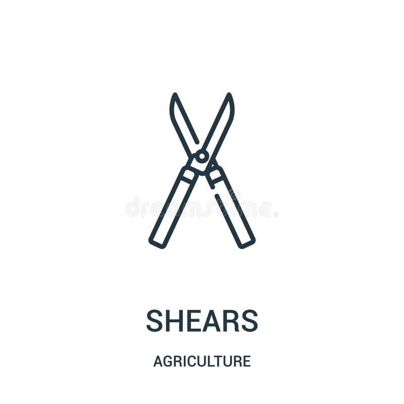 vector del icono de los esquileos de la colección de la agricultura La línea fina esquila el ejemplo del vector del icono del esq stock de ilustración