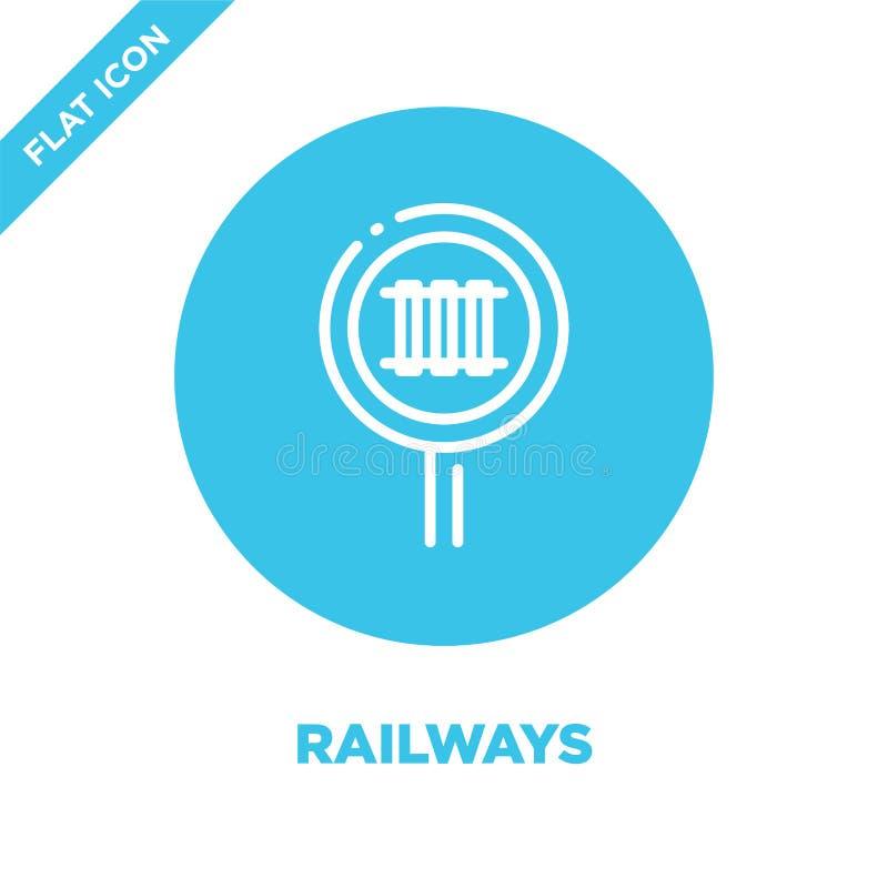 vector del icono de los ferrocarriles Línea fina ejemplo del vector del icono del esquema de los ferrocarriles símbolo de los fer libre illustration