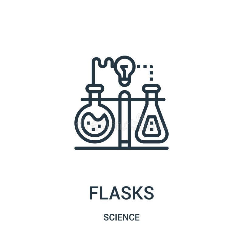 vector del icono de los frascos de la colección de la ciencia Línea fina ejemplo del vector del icono del esquema de los frascos  libre illustration