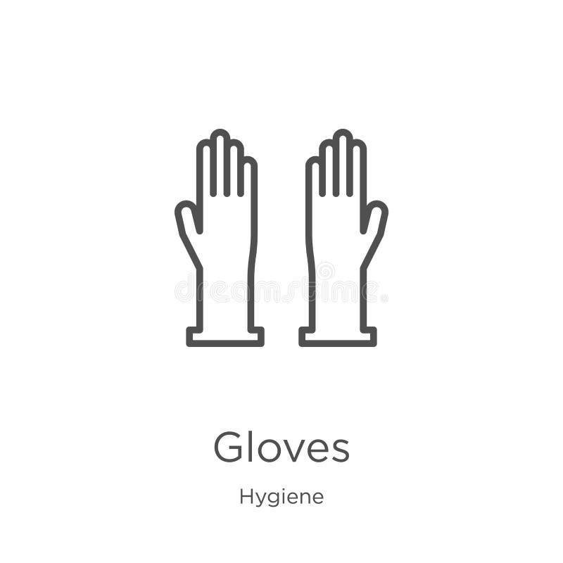 vector del icono de los guantes de la colección de la higiene L?nea fina ejemplo del vector del icono del esquema de los guantes  ilustración del vector