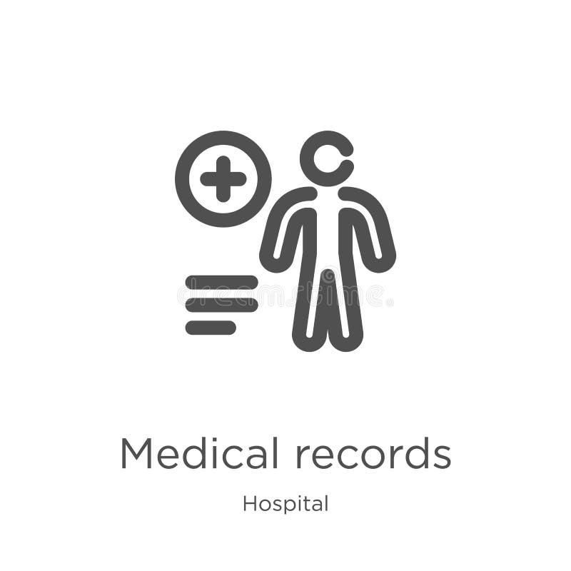vector del icono de los informes médicos de la colección del hospital Línea fina ejemplo del vector del icono del esquema de los  stock de ilustración