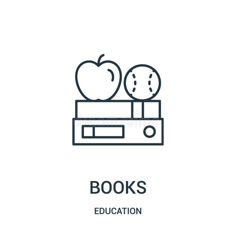 vector del icono de los libros de la colección de la educación Línea fina ejemplo del vector del icono del esquema de los libros libre illustration