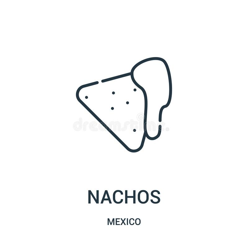 vector del icono de los nachos de la colección de México Línea fina ejemplo del vector del icono del esquema de los nachos ilustración del vector