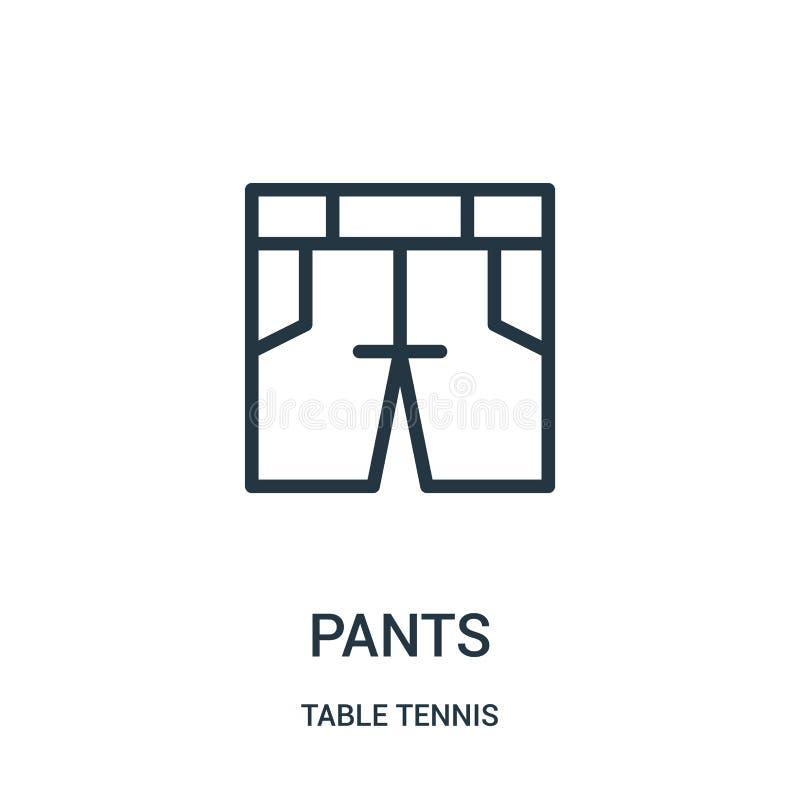 vector del icono de los pantalones de la colección de los tenis de mesa Línea fina ejemplo del vector del icono del esquema de lo stock de ilustración