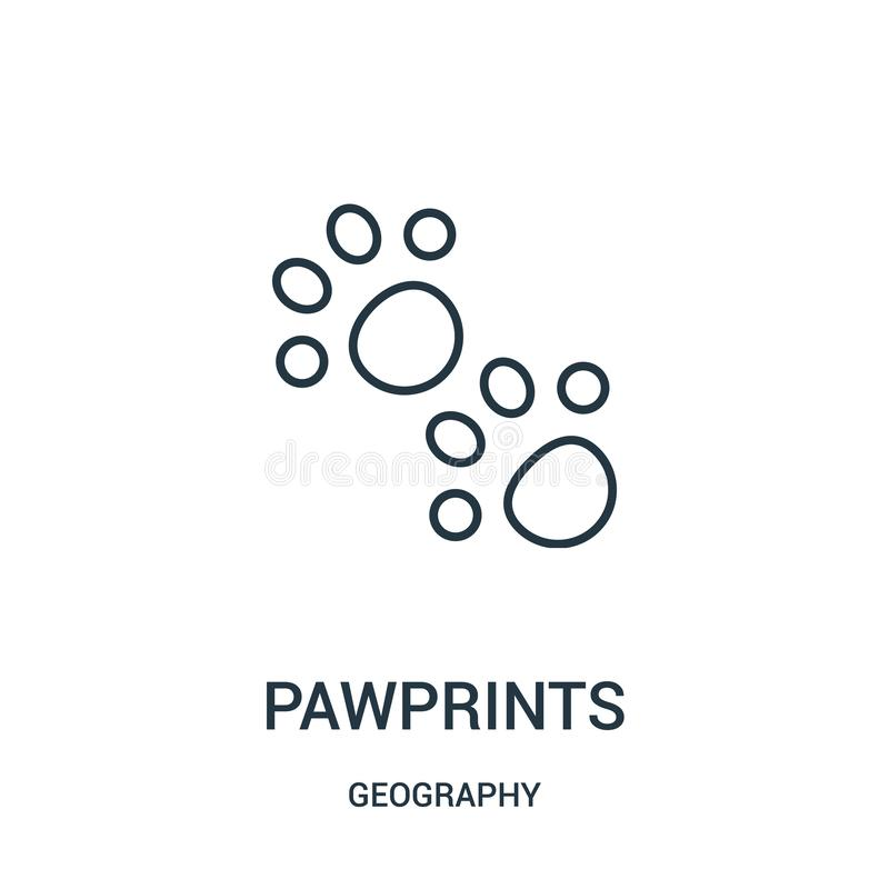 vector del icono de los pawprints de la colección de la geografía Línea fina ejemplo del vector del icono del esquema de los pawp stock de ilustración