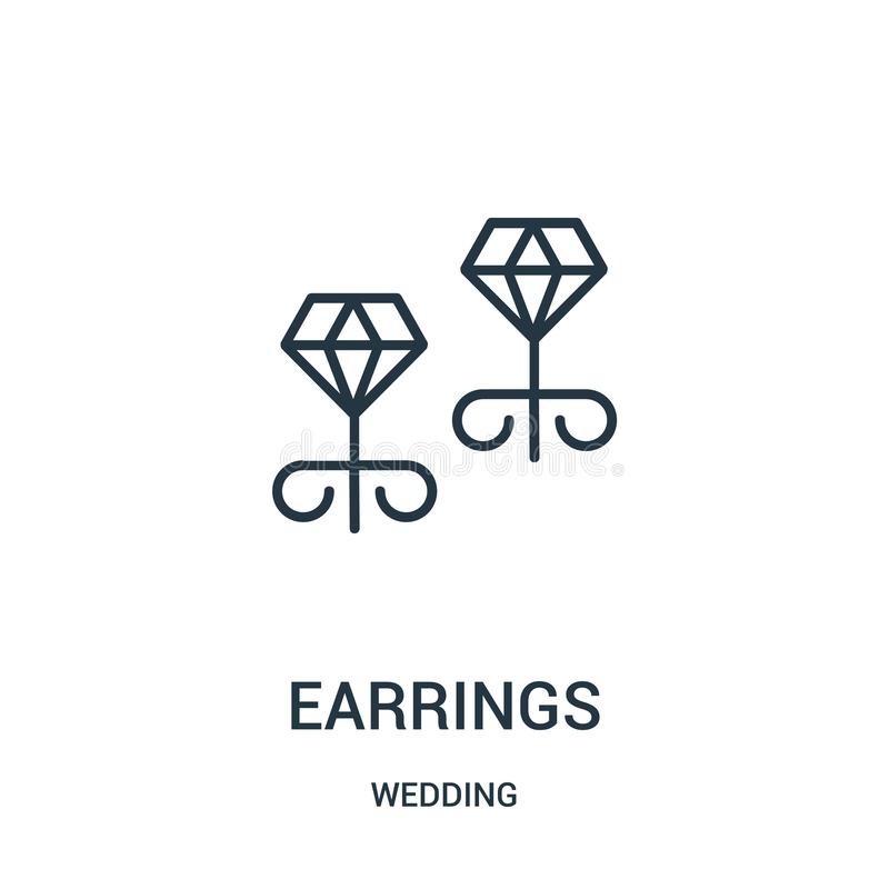 vector del icono de los pendientes de casarse la colección Línea fina ejemplo del vector del icono del esquema de los pendientes stock de ilustración