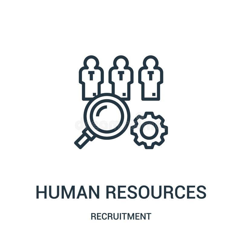 vector del icono de los recursos humanos de la colección del reclutamiento Línea fina ejemplo del vector del icono del esquema de stock de ilustración