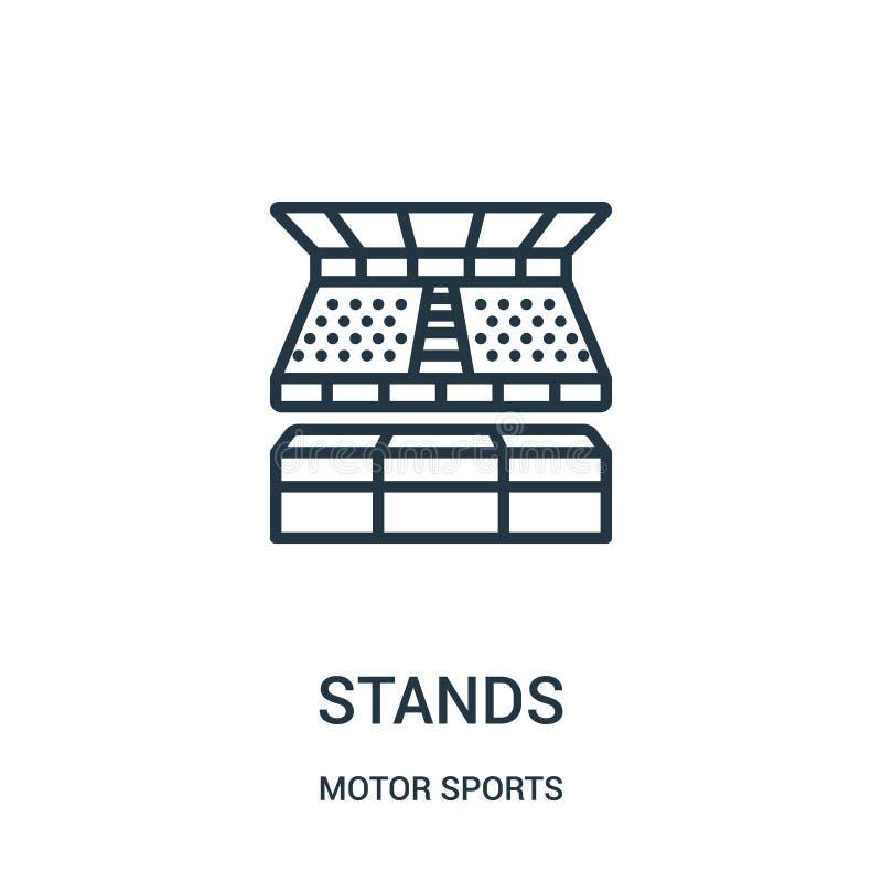 vector del icono de los soportes de la colección de los deportes de motor La línea fina coloca el ejemplo del vector del icono de stock de ilustración