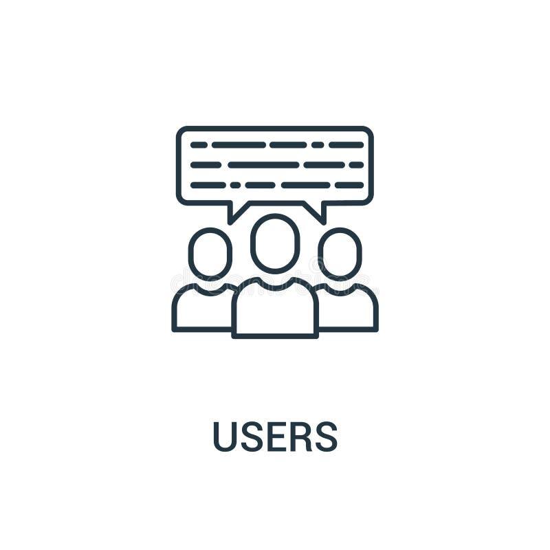 vector del icono de los usuarios de la colección de los anuncios Línea fina ejemplo del vector del icono del esquema de los usuar stock de ilustración