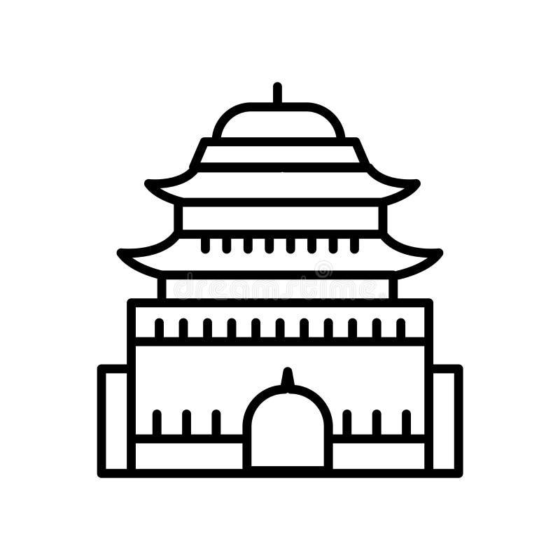 Vector del icono de Ming Dynasty Tombs aislado en el fondo blanco, la muestra de Ming Dynasty Tombs, la línea o la muestra linear libre illustration