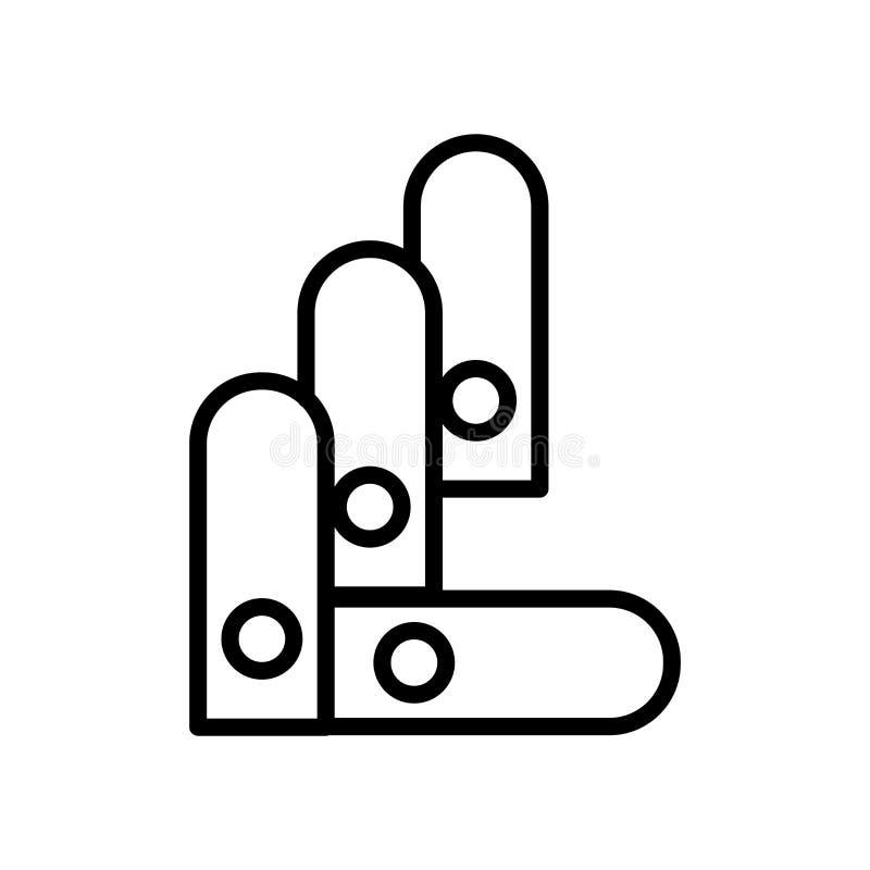 Vector del icono de Pantone aislado en el fondo, la muestra de Pantone, la línea y los elementos blancos del esquema en estilo li stock de ilustración
