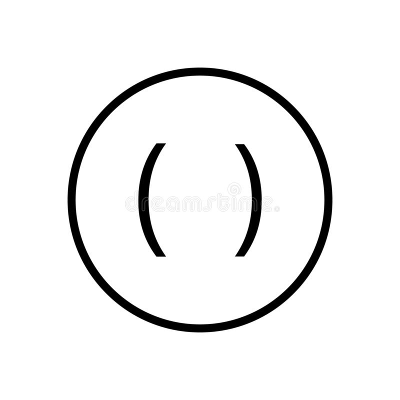 Vector del icono de paréntesis aislado en el fondo, la muestra de paréntesis, la línea y los elementos blancos del esquema en est libre illustration