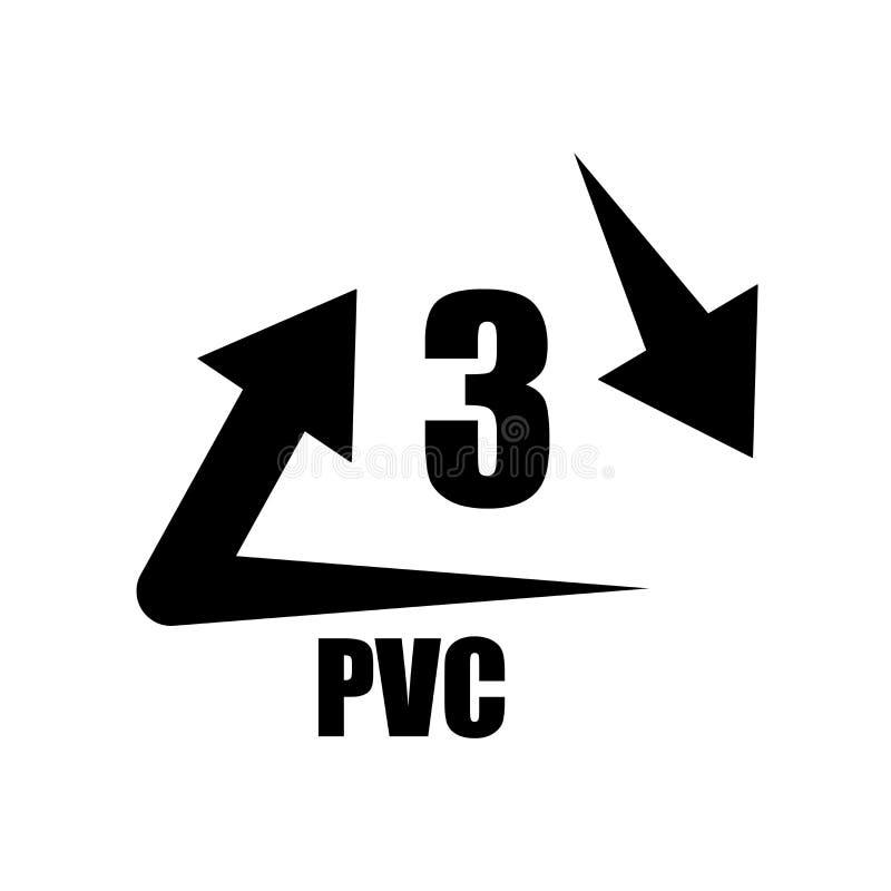 Vector del icono de 3 PVC aislado en el fondo blanco, muestra de 3 PVC, guerra libre illustration