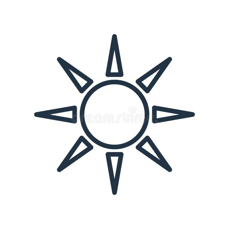 Vector del icono de Sun aislado en el fondo blanco, muestra de Sun ilustración del vector