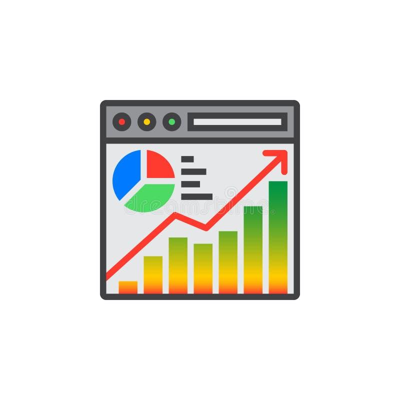 Vector del icono del análisis de tráfico del sitio web, muestra plana llenada, co sólido libre illustration