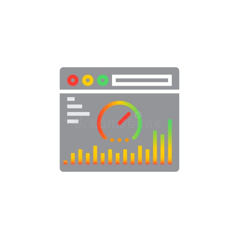 Vector del icono del análisis del sitio web, muestra plana llenada, colorido sólido stock de ilustración