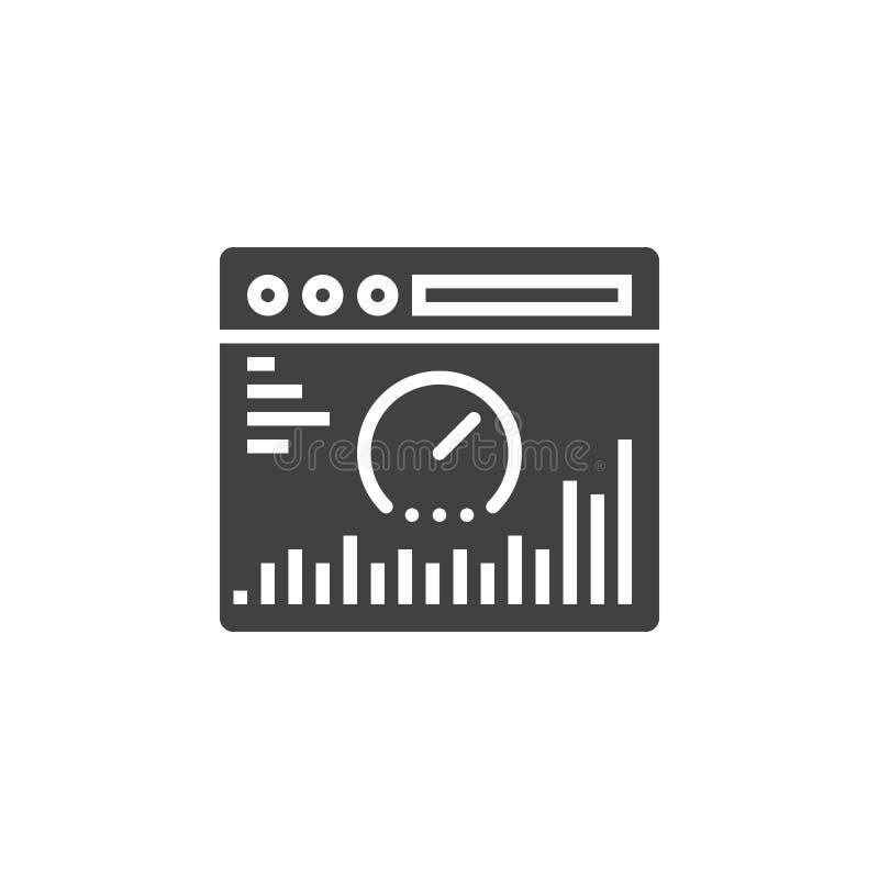Vector del icono del análisis del sitio web, muestra plana llenada, pictograma sólido ilustración del vector