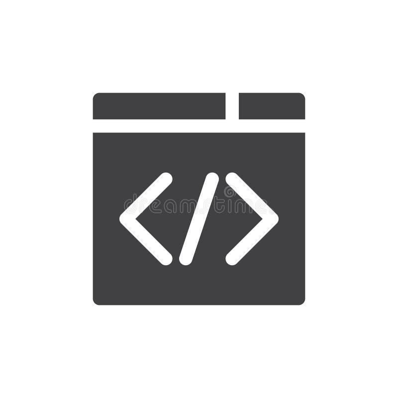 Vector del icono del código personalizado, muestra plana llenada, pictograma sólido aislado en blanco libre illustration