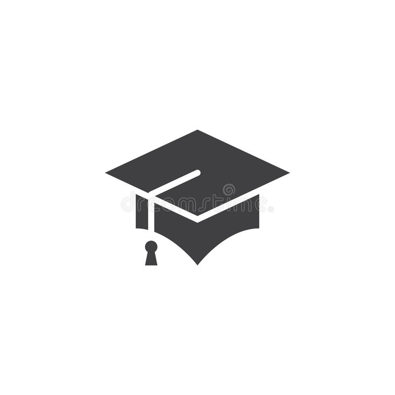 Vector del icono del casquillo de la graduación, logotipo sólido del birrete, pictograma stock de ilustración