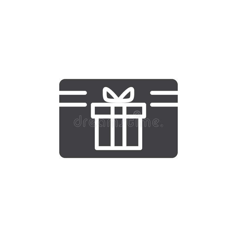 Vector del icono del certificado del carte cadeaux, muestra plana llenada libre illustration