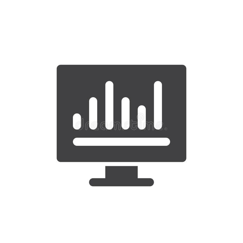 Vector del icono del gráfico de barra del Analytics, muestra plana llenada, pictograma sólido aislado en blanco ilustración del vector