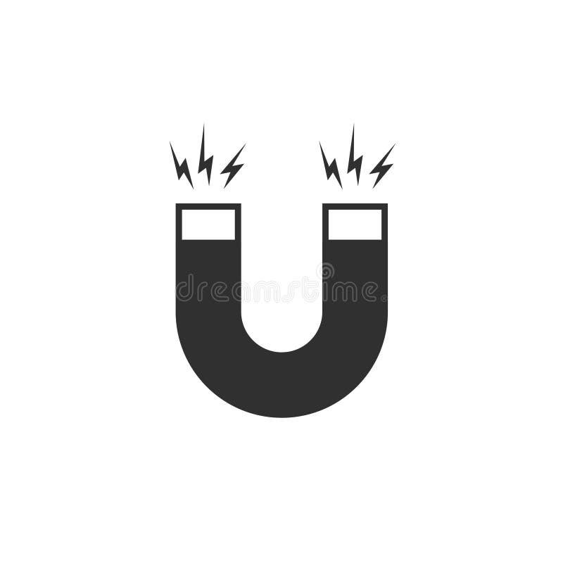 Vector del icono del imán, imán blanco y negro de la historieta plana con poder magnético aislado ilustración del vector