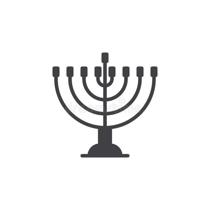 Vector del icono del menorah de Jánuca, muestra plana llenada, pictograma sólido aislado en blanco stock de ilustración