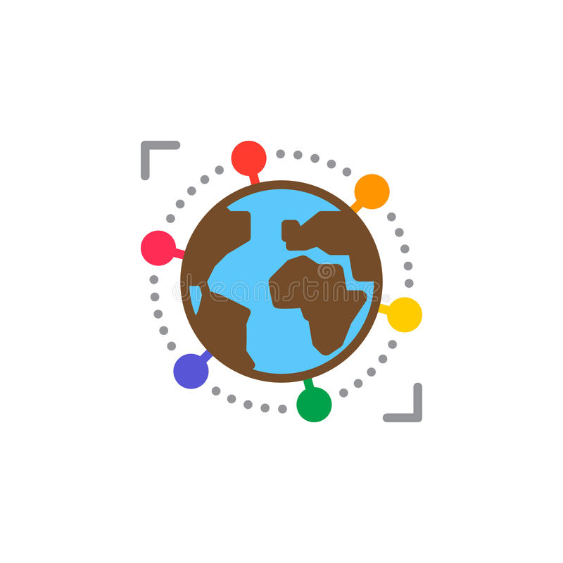 Vector del icono del negocio internacional, global, muestra plana llenada, pictograma colorido sólido aislado en blanco libre illustration