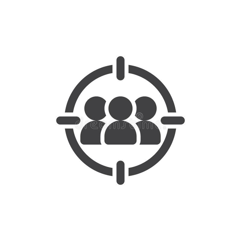 Vector del icono del público objetivo, muestra plana llenada, pictograma sólido aislado en blanco ilustración del vector
