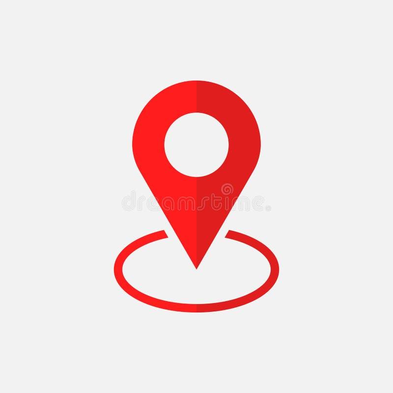 Vector del icono del Pin La ubicación firma adentro estilo plano en el fondo blanco stock de ilustración