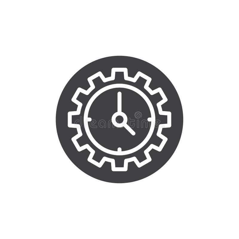 Vector del icono del reloj y del engranaje stock de ilustración