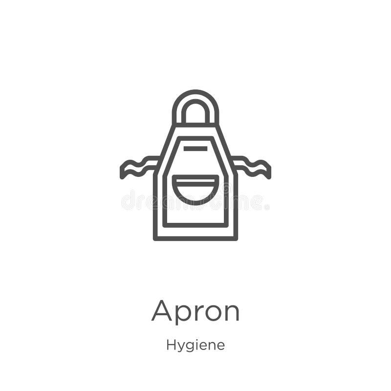 vector del icono del delantal de la colección de la higiene L?nea fina ejemplo del vector del icono del esquema del delantal Esqu stock de ilustración