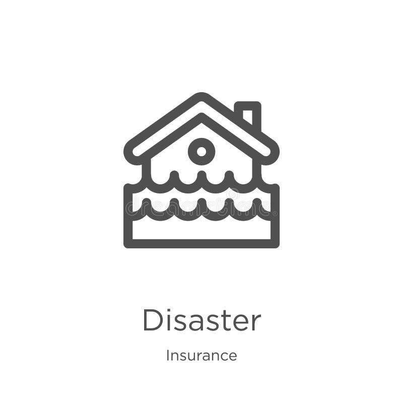 vector del icono del desastre de la colección del seguro Línea fina ejemplo del vector del icono del esquema del desastre Esquema libre illustration