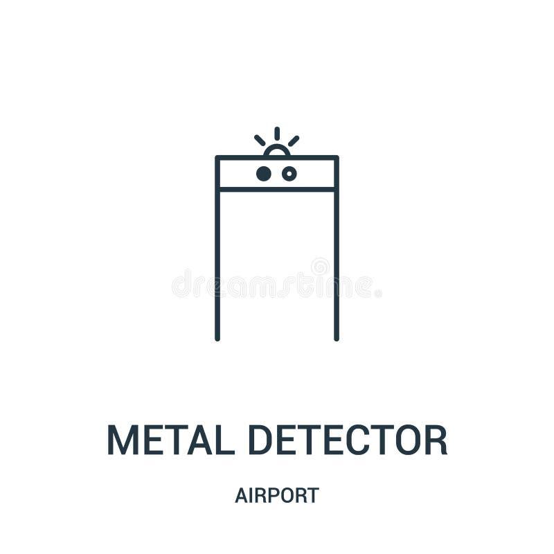 vector del icono del detector de metales de la colecci?n del aeropuerto L?nea fina ejemplo del vector del icono del esquema del d libre illustration