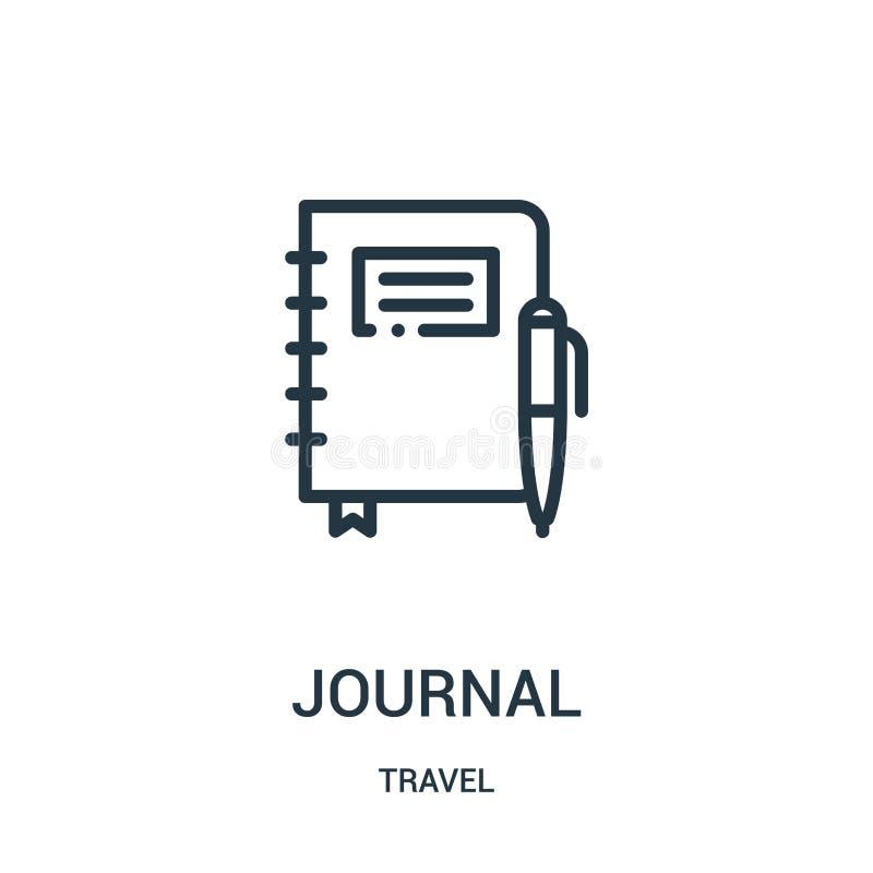 vector del icono del diario de la colección del viaje Línea fina ejemplo del vector del icono del esquema del diario Símbolo line ilustración del vector