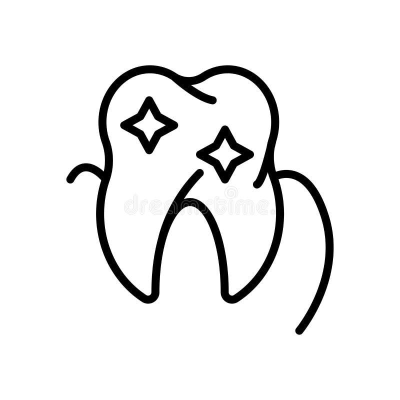 Vector del icono del diente aislado en el fondo, la muestra del diente, la línea y los elementos blancos del esquema en estilo li libre illustration