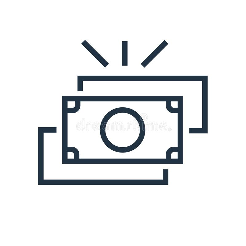 Vector del icono del dinero aislado en el fondo blanco, muestra del dinero stock de ilustración