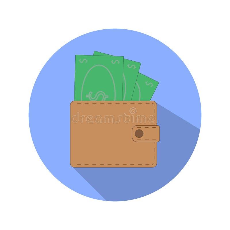 Vector del icono del dinero del vector del icono de la cartera cartera con el icono del dinero plano ilustración del vector