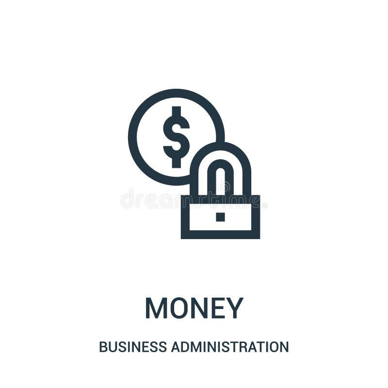vector del icono del dinero de la colección de la administración de empresas Línea fina ejemplo del vector del icono del esquema  stock de ilustración
