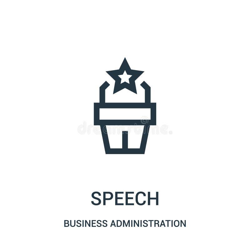 vector del icono del discurso de la colección de la administración de empresas L?nea fina ejemplo del vector del icono del esquem ilustración del vector
