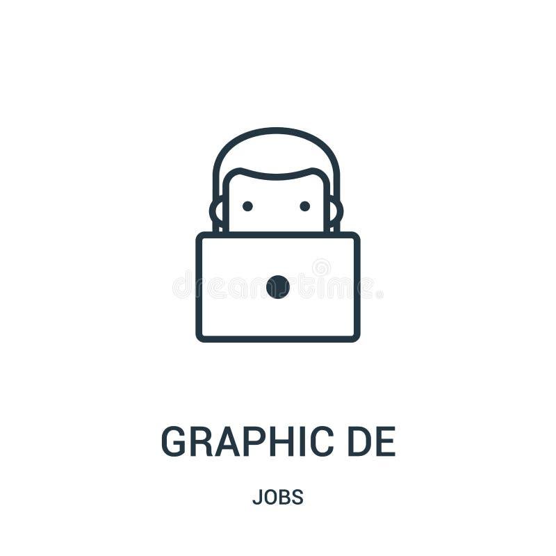 vector del icono del diseñador gráfico de la colección de los trabajos Línea fina ejemplo del vector del icono del esquema del di ilustración del vector