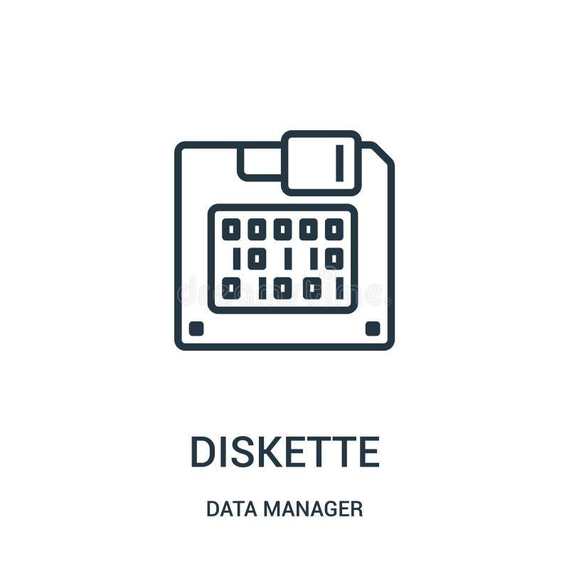 vector del icono del disquete de la colección del encargado de los datos Línea fina ejemplo del vector del icono del esquema del  libre illustration