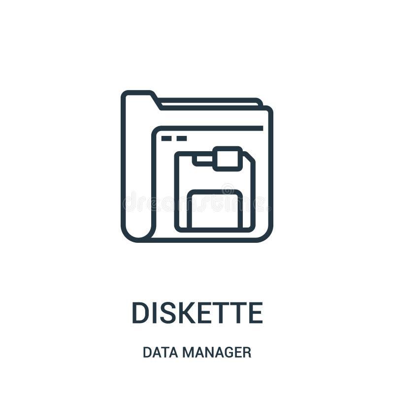 vector del icono del disquete de la colección del encargado de los datos Línea fina ejemplo del vector del icono del esquema del  stock de ilustración