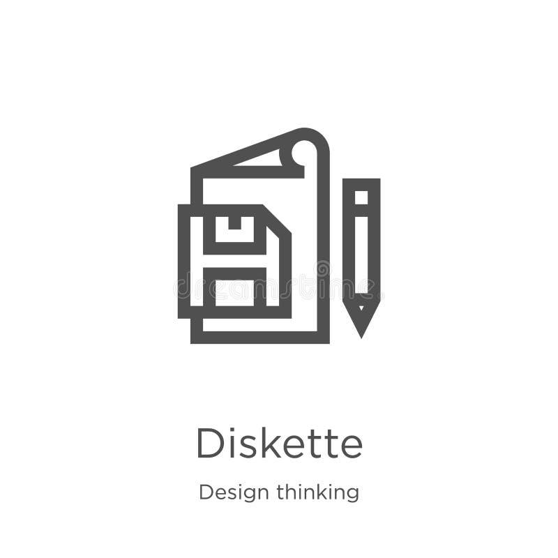 vector del icono del disquete de la colección de pensamiento del diseño L?nea fina ejemplo del vector del icono del esquema del d libre illustration