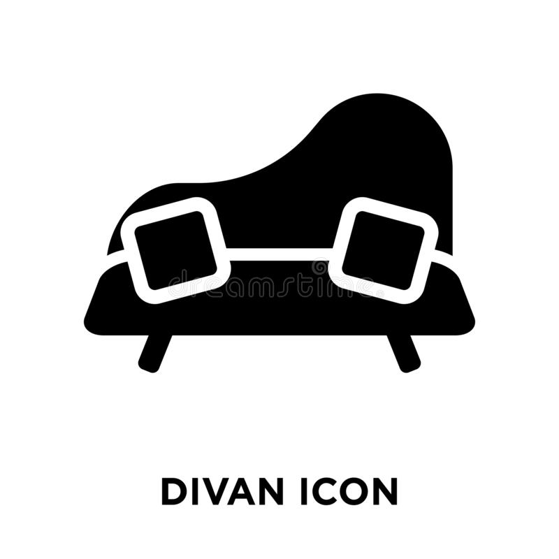 Vector del icono del diván aislado en el fondo blanco, concepto del logotipo de stock de ilustración