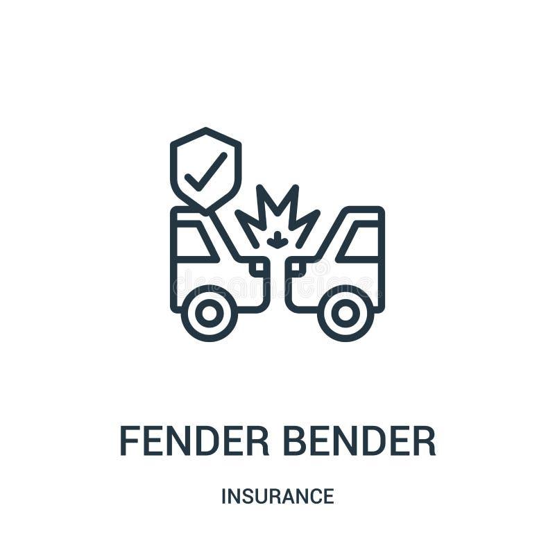 vector del icono del doblador de defensa de la colección del seguro Línea fina ejemplo del vector del icono del esquema del dobla libre illustration