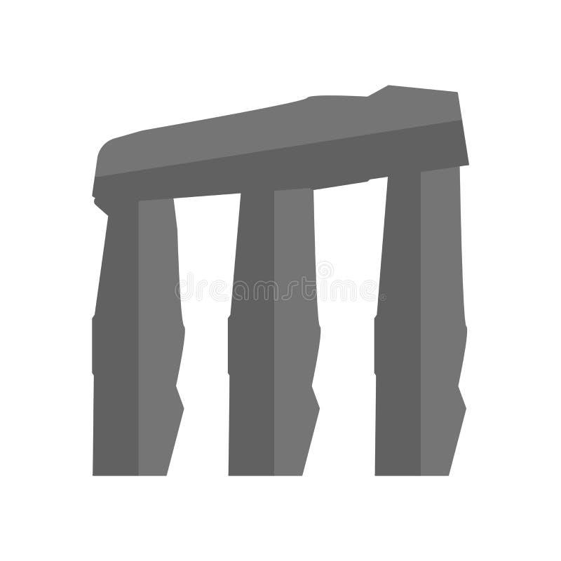 Vector del icono del dolmen aislado en el fondo blanco, muestra del dolmen, símbolos de la historia antigua stock de ilustración