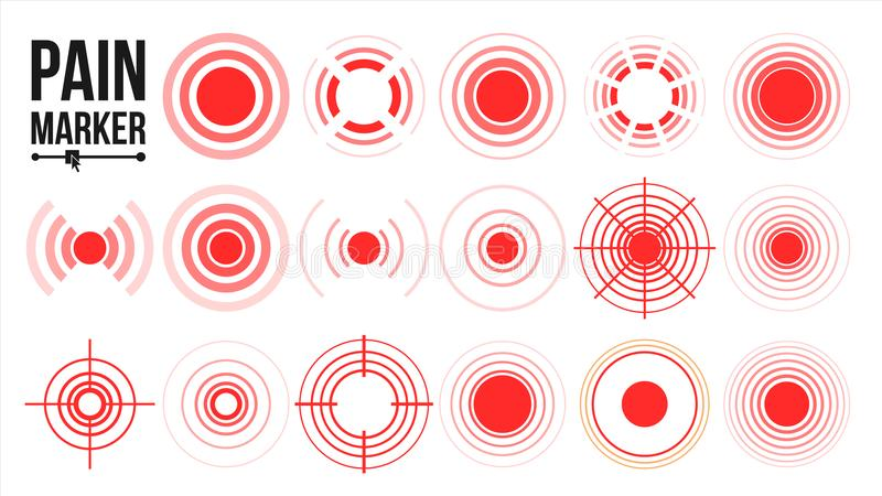 Vector del icono del dolor Anillos rojos Círculo del dolor Ilustración aislada stock de ilustración