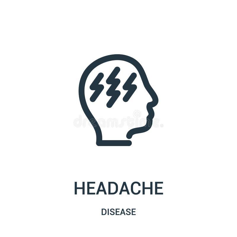 vector del icono del dolor de cabeza de la colección de la enfermedad Línea fina ejemplo del vector del icono del esquema del dol stock de ilustración